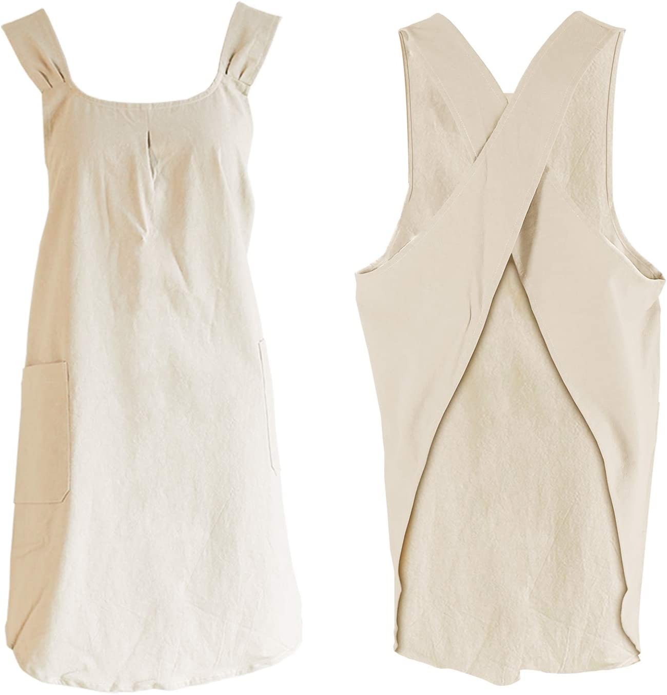 Kitchen Cooking Aprons Cross Back with Two Large Pockets (Beige)