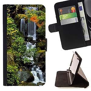 For Samsung Galaxy J3(2016) J320F J320P J320M J320Y Case , Naturaleza Hermosa Forrest Verde 38- la tarjeta de Crédito Slots PU Funda de cuero Monedero caso cubierta de piel