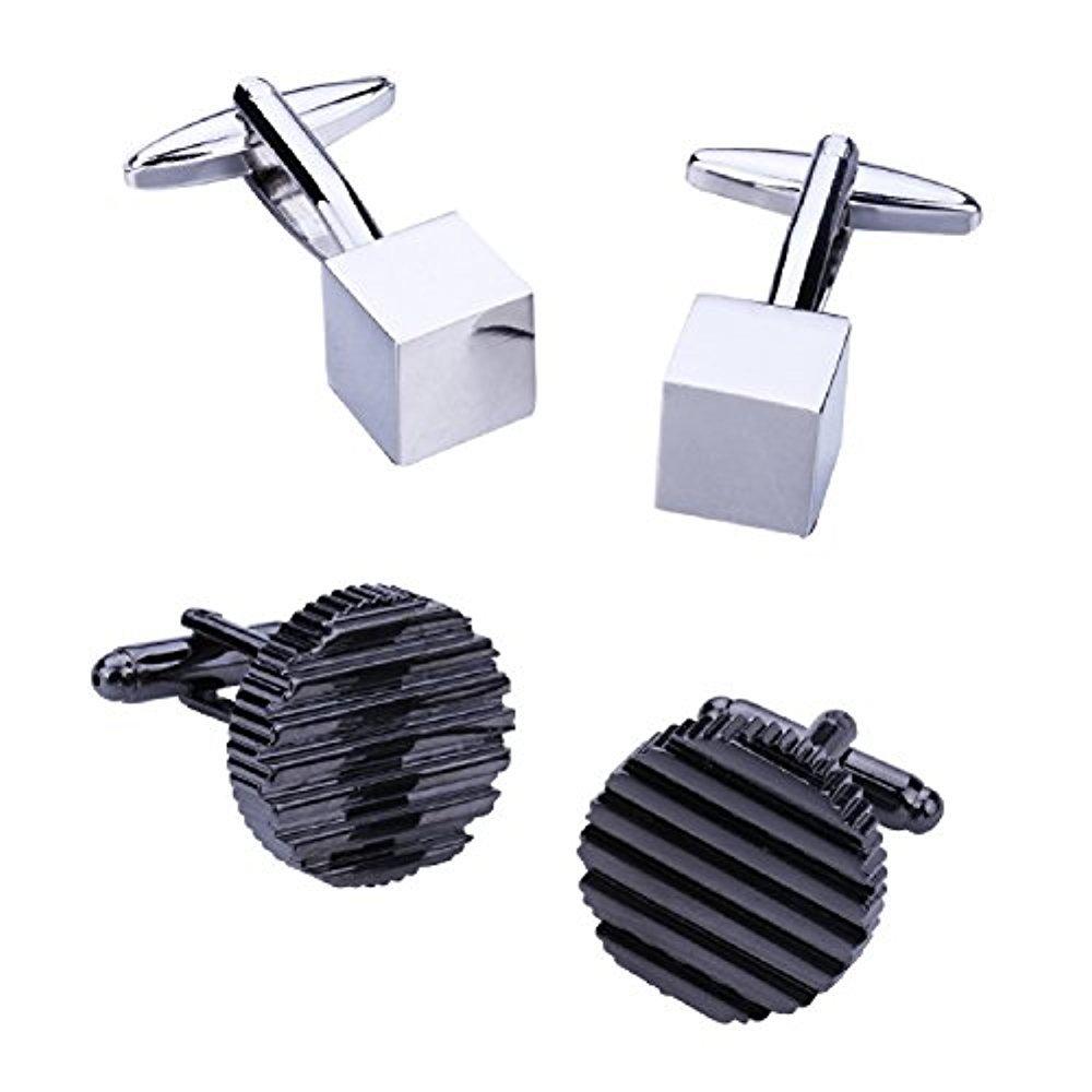 BodyJ4You 4PC Cufflinks Button Men's Shirt Classic Modern Design Business Jewelry Gift Set FJ9680