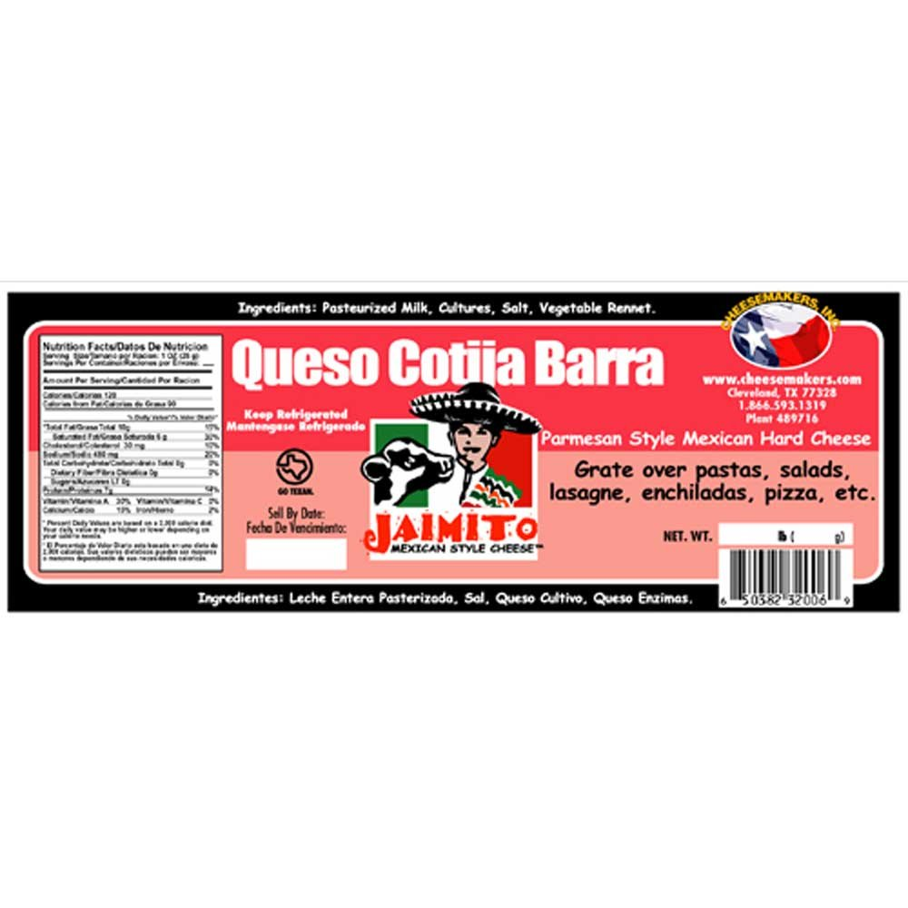 Cheesemakers Barra Cotija Cheese, 5 Pound -- 4 per case. by Cheesemakers