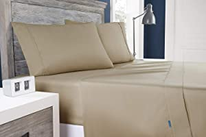 Columbia Moisture Wicking Temperature Regulating Sheet Set, 3-Piece (Twin, Fossil)