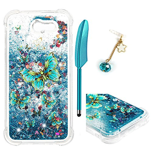 Galaxy J3 Case, J3 2017 Case, Liquid Glitter Cover Sparkle Love Heart Soft TPU Bumper with Pen and Dust Plug for Samsung Galaxy J3 - Blue Gold Butterfly