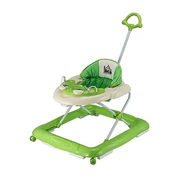 HOMCOM Andador para Bebés Plegable con Freno Andador Bebé Coche con Juguetes y Varilla de Empuje Ajuste de Altura y Caja de Musica 70x65x55cm