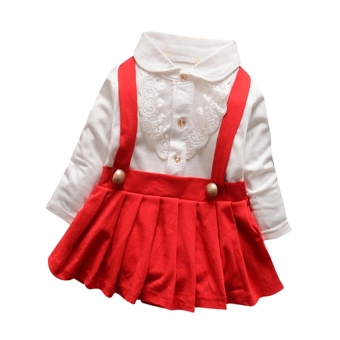 for 0-24 Month Baby, Internet Baby Girl Outfit Lace Dress Layered Fake Two Piece Strap Dress
