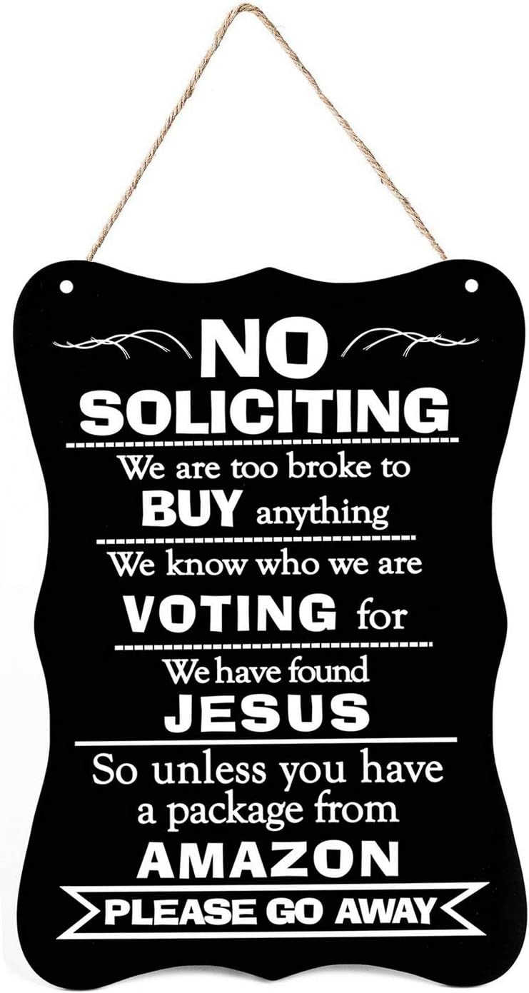 SL crafts No Soliciting Sign Hanging No Soliciting Funny Signs Yard Signs for House Door Office Business 11.5 X 7.5 Inch