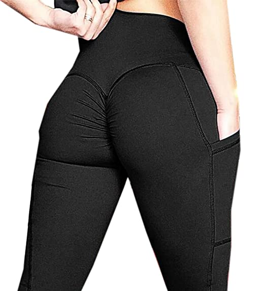 98c15b9444854 Jofemuho Women's Buff Lift Gym Workout Pure Color Yoga Pockets Leggings  Pants Trousers Black S