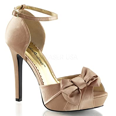 Fabulicious Women's Lumina 36 Ankle Strap,Blush Satin,US ...
