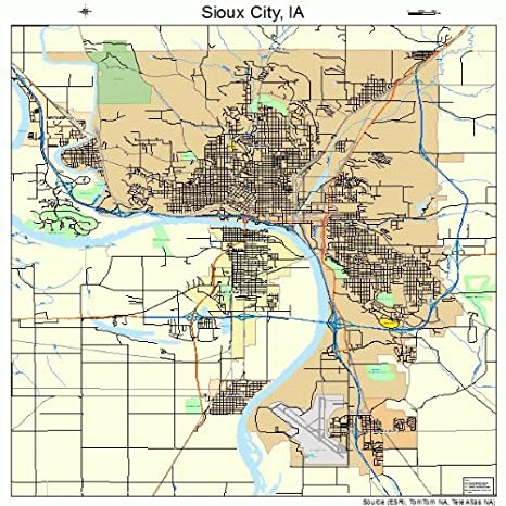 Amazon com: Large Street & Road Map of Sioux City, Iowa IA - Printed