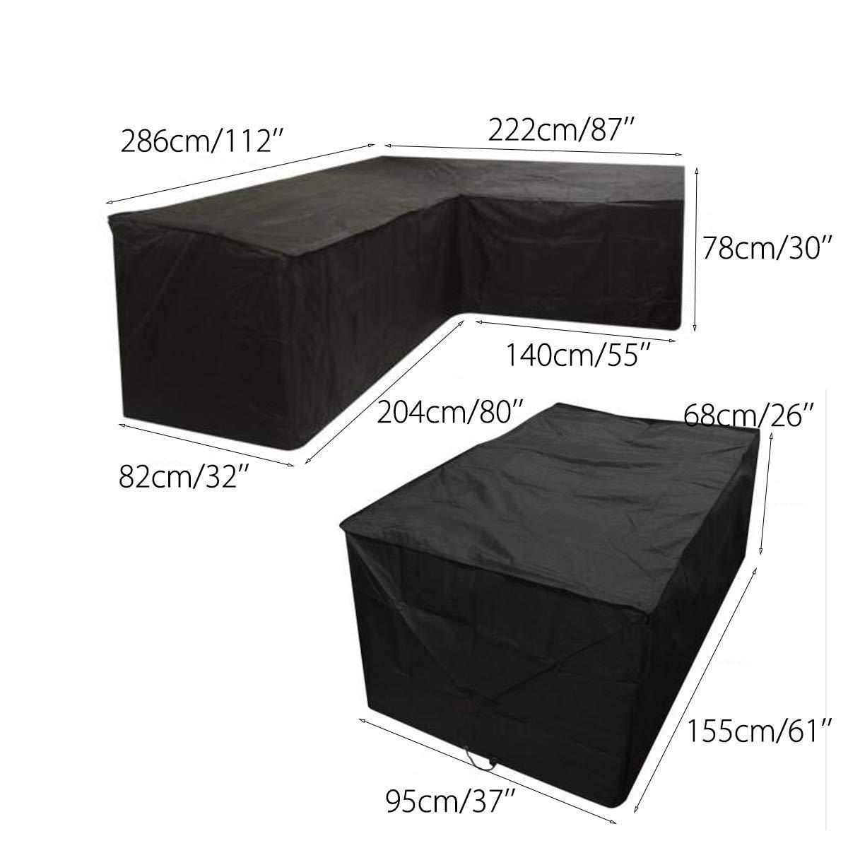 Schutzhülle für Rattan-Gartenmöbel-Set – wasserdicht – L-förmig - schwarz - Linke Seite lang