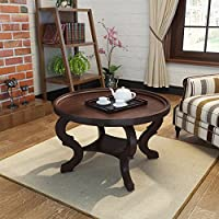 Alteri Dark Walnut Finished Faux Wood Circular Coffee Table