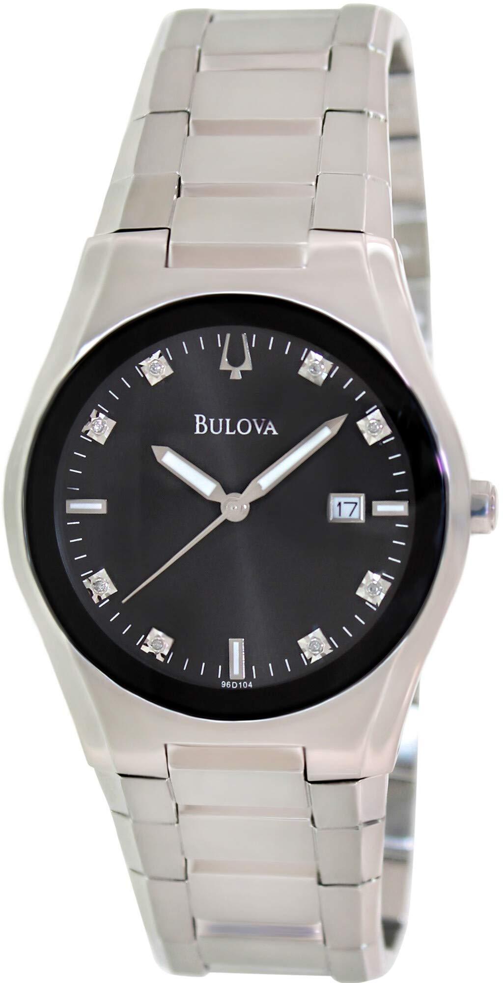 Bulova Men's 96D104 Black Dial 8 Diamonds Bracelet Watch