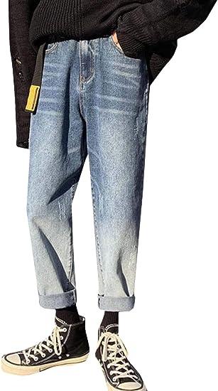 [MLboss]デニムパンツ メンズ ゆったり ジーンズ ベルト付き ロング丈 ストレートパンツ カジュアル デニム ジーパン ファッション ワイド Gパン グラデーション 通学 ズボン