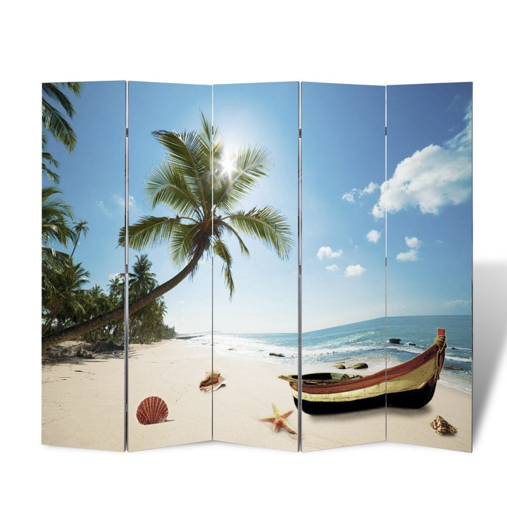 Anself Room Divider Beach Print Home Office 200 x 180cm