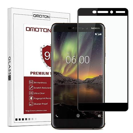OMOTON Nokia 6 2018 Protector de Pantalla [Cobertura Completa] Cristal Templado, 9H Dureza