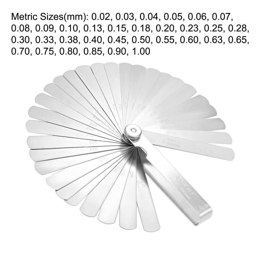 sourcing map Metric Thickness Feeler Gauge 0.05-1.00mm 16 Blades Mn Steel Measuring Tool for Gap Width
