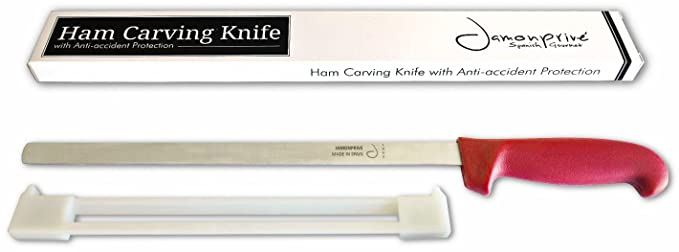 Ham Carving Knife with Anti-accident Protection 12-Inch - Flexible Stainless Steal Ham Slicing Knife for Slicing Serrano, Ibérico Ham & Italian ...