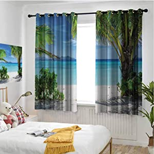 hengshu Tropical Grommet Thermal Curtains Blackout Idyllic Tranquil Ocean View Holiday Vacation Resort Beach Plants Seaside Room Decor Blackout Shades W52 x L63 Inch Green Aqua Coconut