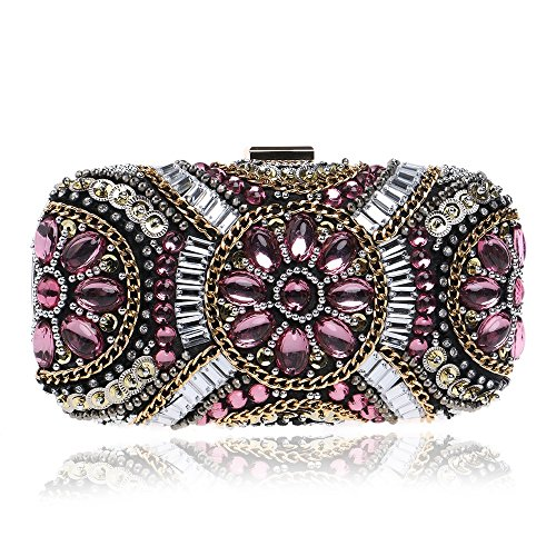 Lady Evening Hand Women's Evening Pink Bag GROSSARTIG Bag Banquet Fashion Beaded Dress Bag zAU1xq