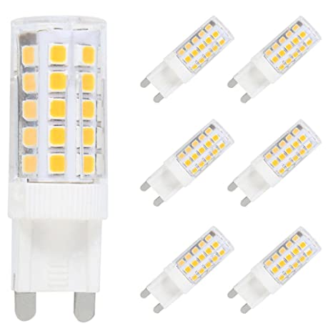 Unidades de 6 LED Bombillas G9 LED Bulb 7 W blanco cálido 3000 K focos LED