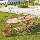 Salon de jardin en TECK BRUT QUALITE GRADE A 8/10 pers - Table ovale 180/240cm + 8 chaises