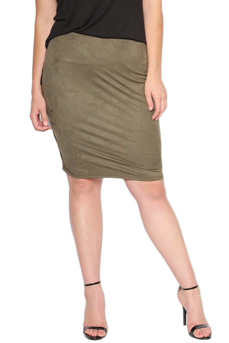 TheMogan Women's Comfort Stretch Faux Suede Knee Pencil Skirt Olive 1XL