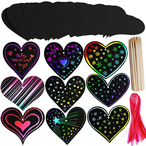 Supla 27 Set Magic Scratch Art Rainbow Scratch Paper Ornaments Assorted Heart Cutouts with Holes Hang Tags Favor Tags Gift Tags Treats Tags with Organza Ribbons and Scratching Tool for Valentines Day