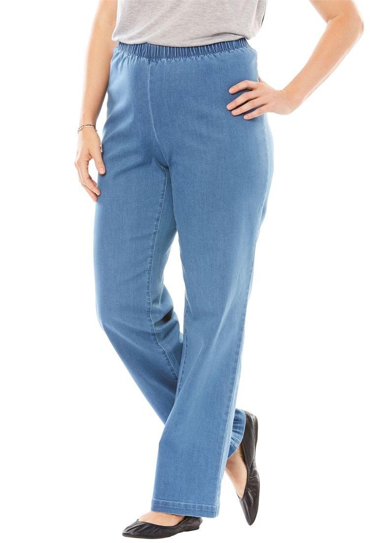 Women's Plus Size Petite Wide Leg Fineline Jean Light Stonewash,16 Wp