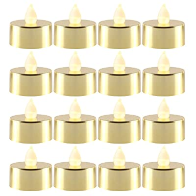 LOGUIDE Flameless Tea Lights,Gold Tea Lights,Gold Votive Tea Lights,LED Candles Battery Operated for Wedding Decorations,Restaurant Candles Centerpiece Candles,Christmas Candles(Set of 12): Home & Kitchen