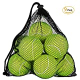 OMorc Pressureless Tennis Balls - 9 Balls with Mesh Carrying Bag - Great For Lessons, Practice, Throwing Machines & Playing With Pets (green)