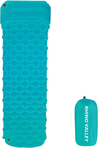 Rhino Valley Inflatable Camping Sleeping Pad, Ultralight and Waterproof Foam Sleeping Mat, 4 Season Camping Air Mattress with Attached Pillow for Backpacking, Hiking, Travelling