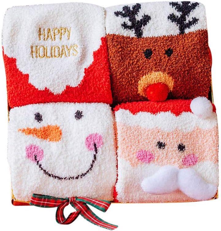 Snowman Yliquor 4Pair Christmas Lovers Socks Unisex Coral Velvet Soft Breathable Warm Socks Santa Elk Happy Holiday