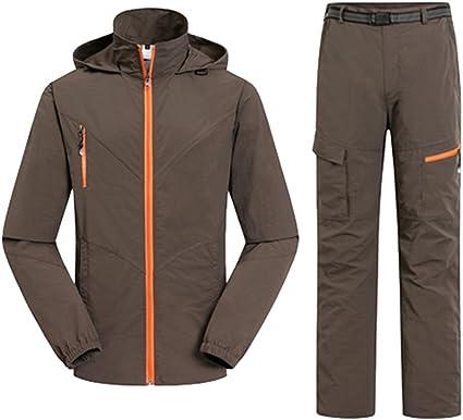 YuanDian Hombre Mujer Pareja Outdoor Primavera Verano Trekking Montaña Pantalone Chaqueta 2 Piezas Conjuntos Transpirable Secado Rápido Protección ...