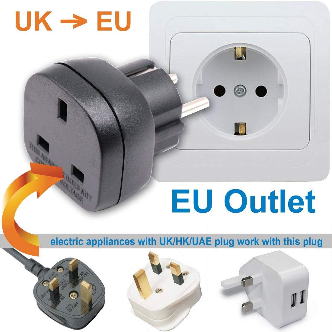 Appareil /électronique 3 Broches UK//HK//UAE /à Adaptateur Femelle EU 2 Broches Avec Obturateur de S/écurit/é 1 Pi/èce, Noir BS 8546 Approuv/é UK /à EU//DE//FR//FR//IT//ES Adaptateur Enfichable