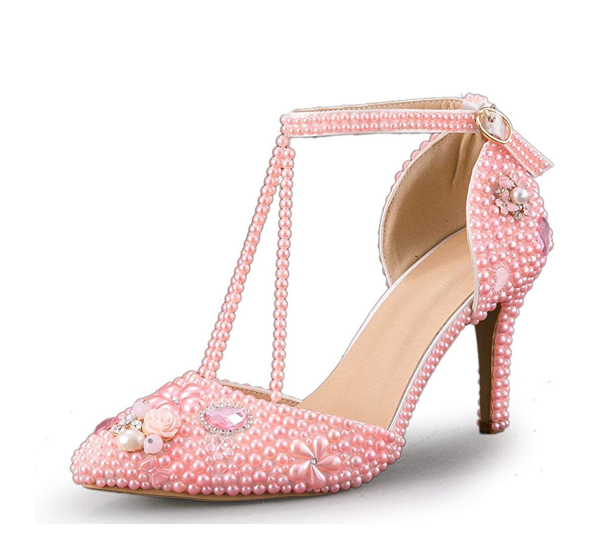 ZHRUI Damen T-Strap Perle Perlen Braut Rosa Hochzeit Performance Schuhe UK 3.5 (Farbe   -, Größe   -)