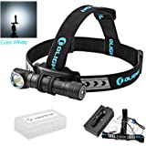 Olight H2R Nova rechargeable max 2300 Lumens LED headlamp / utility light with 18650 Li-ion battery , flex magnetic USB charging cable and GrapheneFast Battery case bundle
