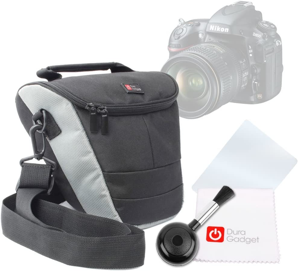 Compatible with Nikon D810A DURAGADGET Black /& Grey Protective Carry Case Cleaning Cloth /& Lens Blower D5500 /& D7200