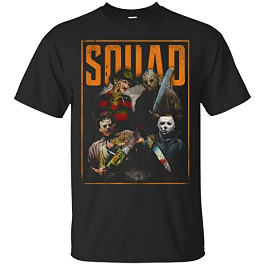 86272bc9f60 Amazon.com  Bunbasas Freddy Jason Michael Myers and Leatherface Squad T  Shirt  Clothing