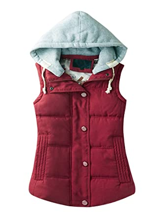 30b5ab885813 Gooket Women's Casual Winter Outerwear Waistcoat Quilted Padded Puffer Vest  with Removable Hood Bordeaux Tag M