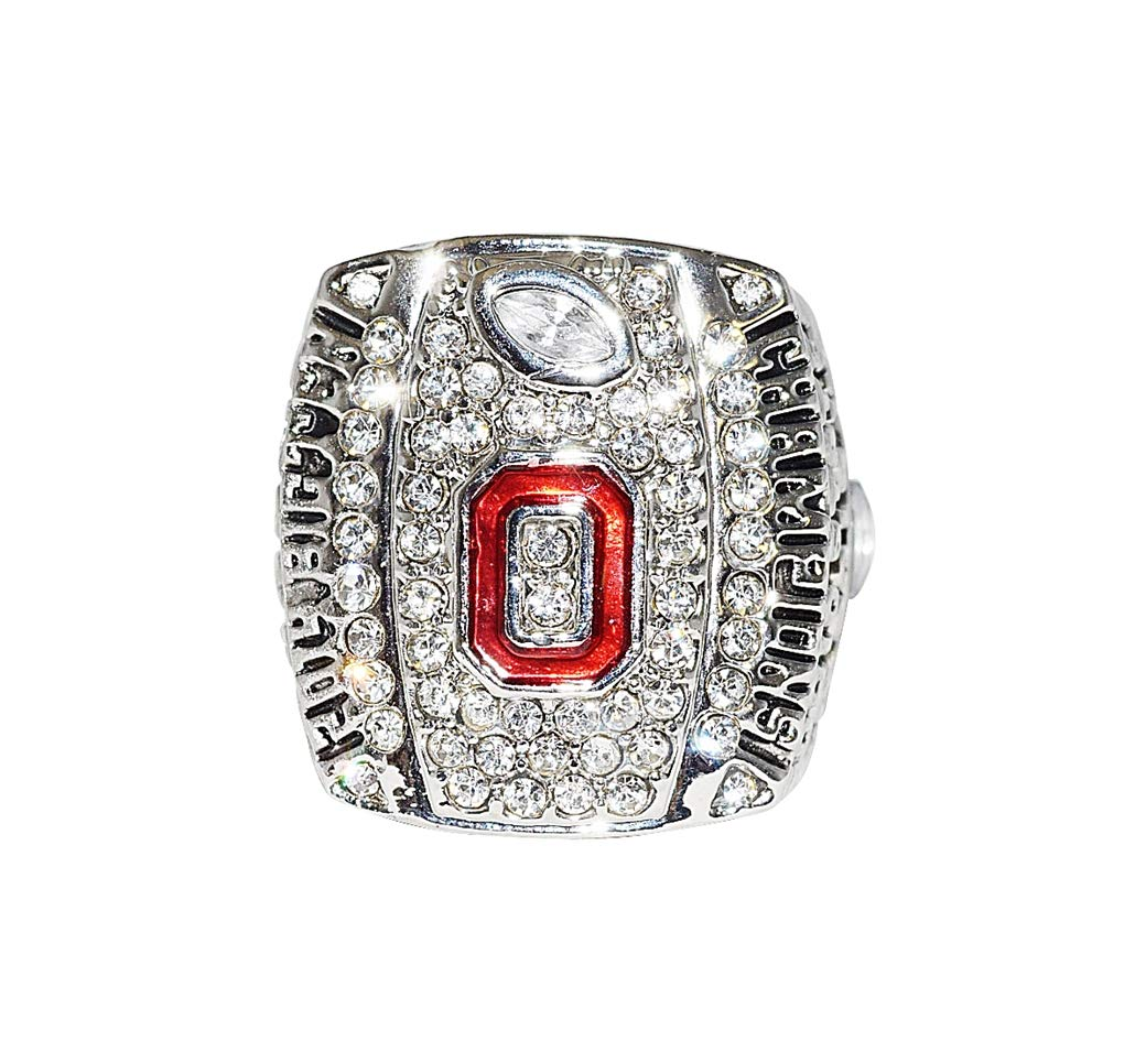 OHIO STATE UNIVERSITY BUCKEYES (Cardale Jones) 2014 BIG TEN CHAMPIONS (Vs, Wisconsin Badgers) OSU Collectible Replica NCAA Football Silver Championship Ring with Cherrywood Display Box