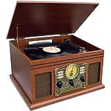 Nostalgic Bluetooth Recording Turntable Music Entertainment Centre with USB/SD Card/CD/Radio/Vinyl capabilty