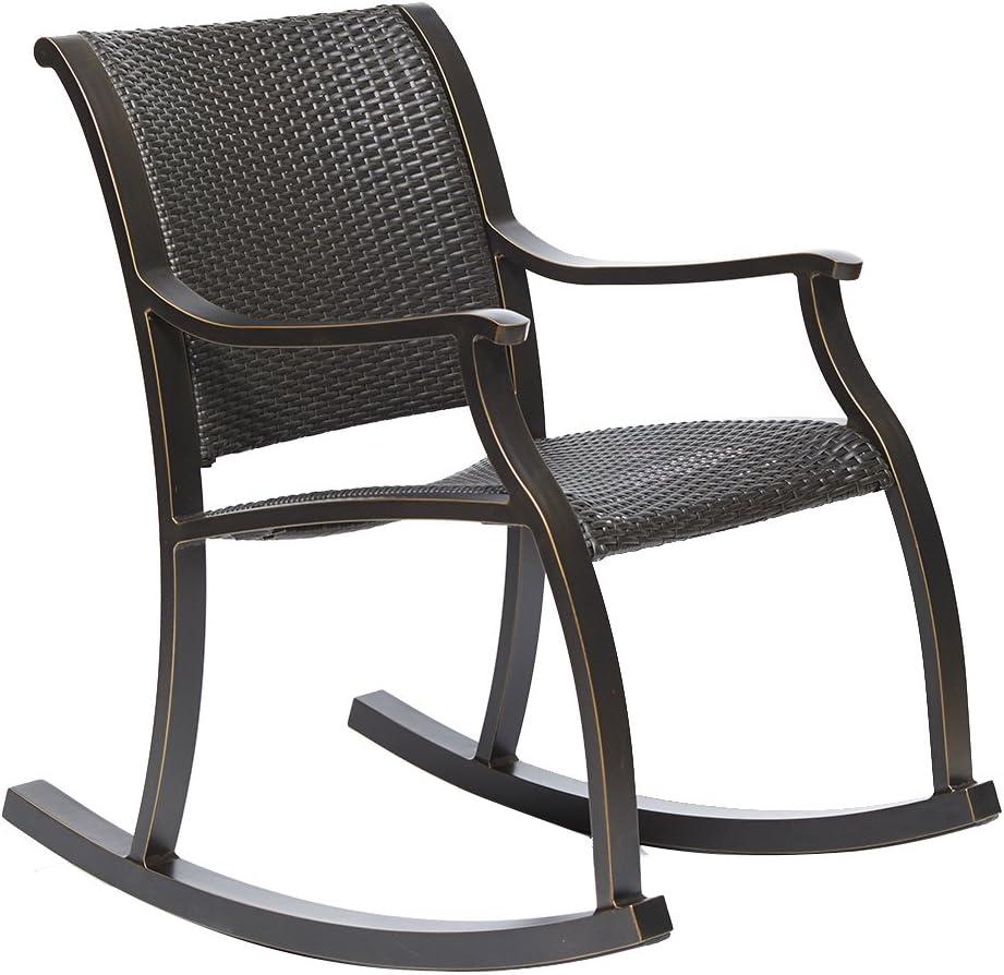 dali Rattan Rocker Chair, Weather Resistant Wicker Rocking Armchair Chair,Cast Aluminum Fram Outdoor Patio Glider Lounge Wicker Chair