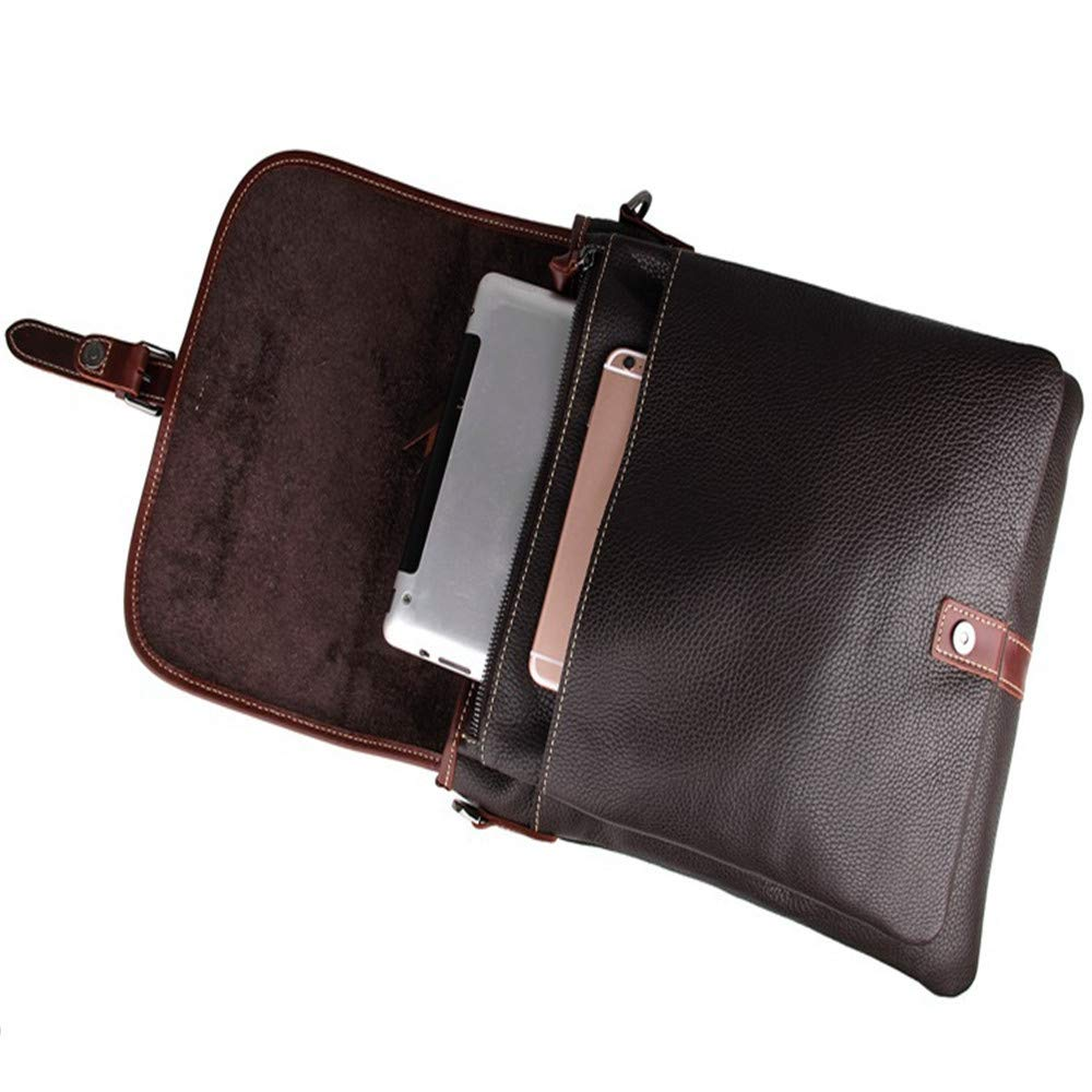 Amyannie Laptop Messenger Bag Men's and Women's Leather Postman Shoulder Bag Can Hold IPad Tablet Bag Briefcase Laptop Messenger Bag (Color : Brown) by Amyannie (Image #6)