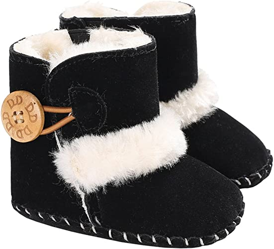 Baby Girls Winter Suede Buttons Fur