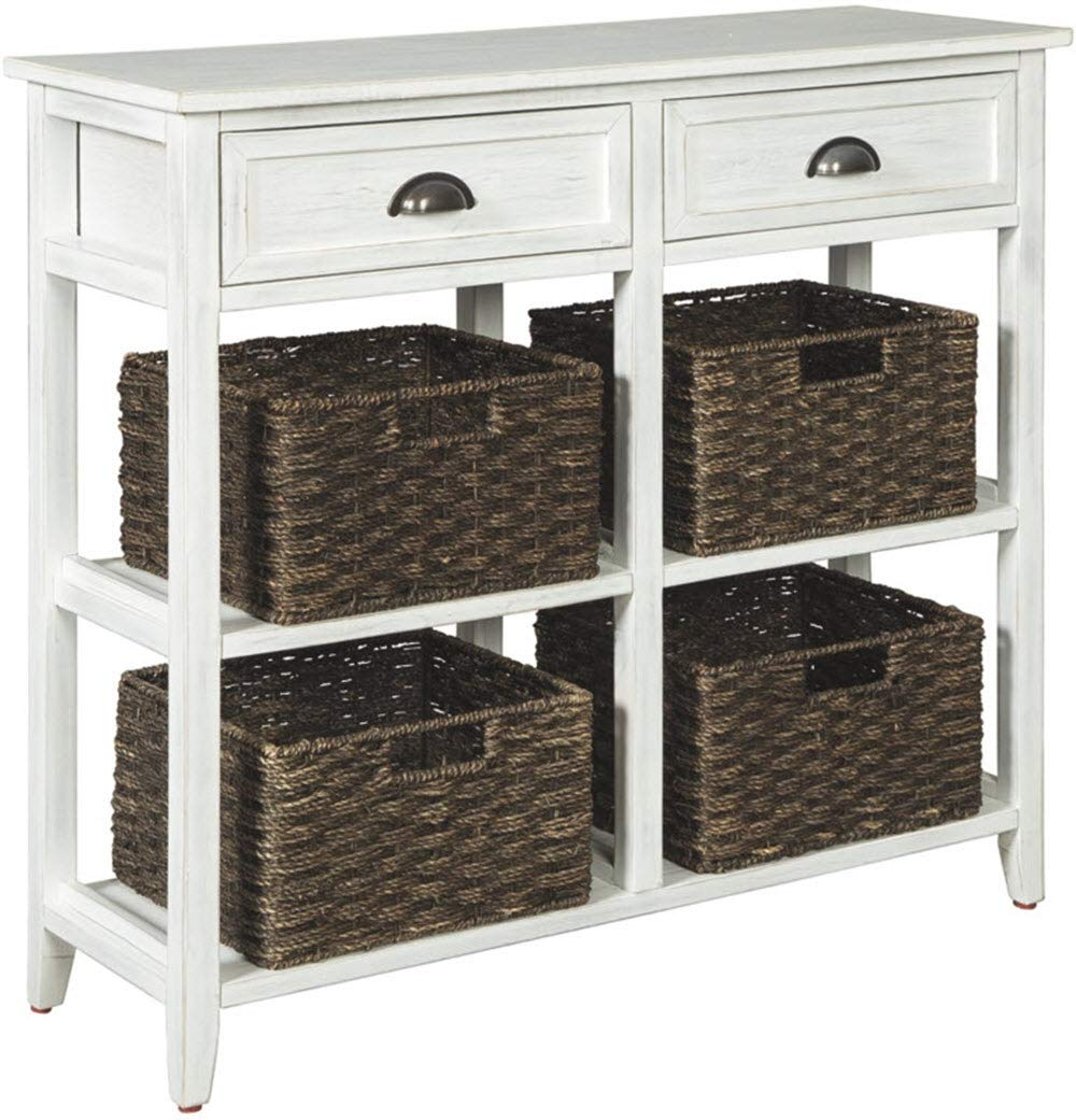Ashley Furniture Signature Design - Oslember Storage Accent Table - Includes 4 Brown Removable Baskets - Antique White Finish