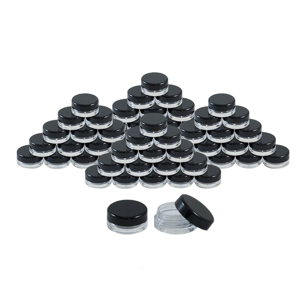Houseables 3 Gram Jar, 3 ML Jar, 50 pcs, BPA Free, Cosmetic Sample Empty Container, Plastic, Round Pot Black Screw Cap Lid, Small Tiny 3g Bottle, for Make Up, Eye Shadow, Nails, Powder, Gems, Beads, Jewelry QE-YL0Y-HHCW