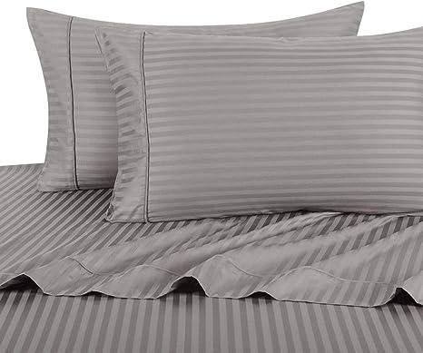 Luxurious Bedding Set USA Size Navy Blue Stripe 100/% Cotton 800-TC Extra Drop~