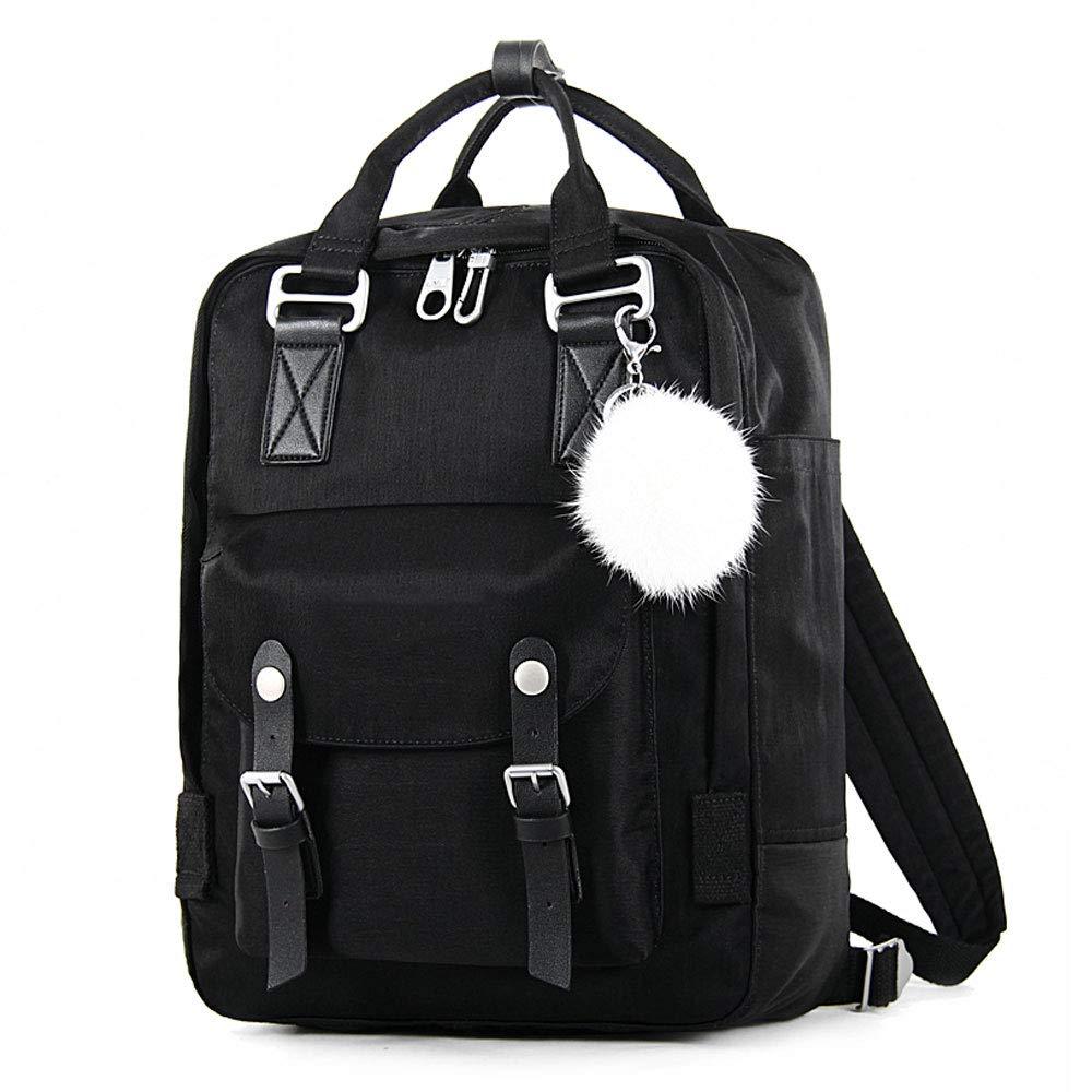 GNXB キャンバスバックパック 学生 カジュアル ファッション 旅行バッグ Large ブラック B07GNJSH72