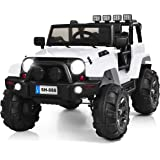 Costzon Ride On Truck, 12V Battery Powered Electric Ride On Car w/ 2.4 GHZ Bluetooth Parental Remote Control, LED Lights…