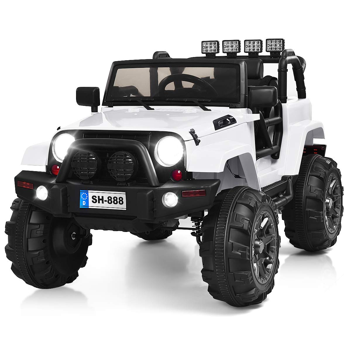 Costzon Ride On Truck, 12V Battery Powered Electric Ride On Car w/ 2.4 GHZ Bluetooth Parental Remote Control, LED Lights, Double Doors, Safety Belt, Music, MP3 Player, Spring Suspension (White)