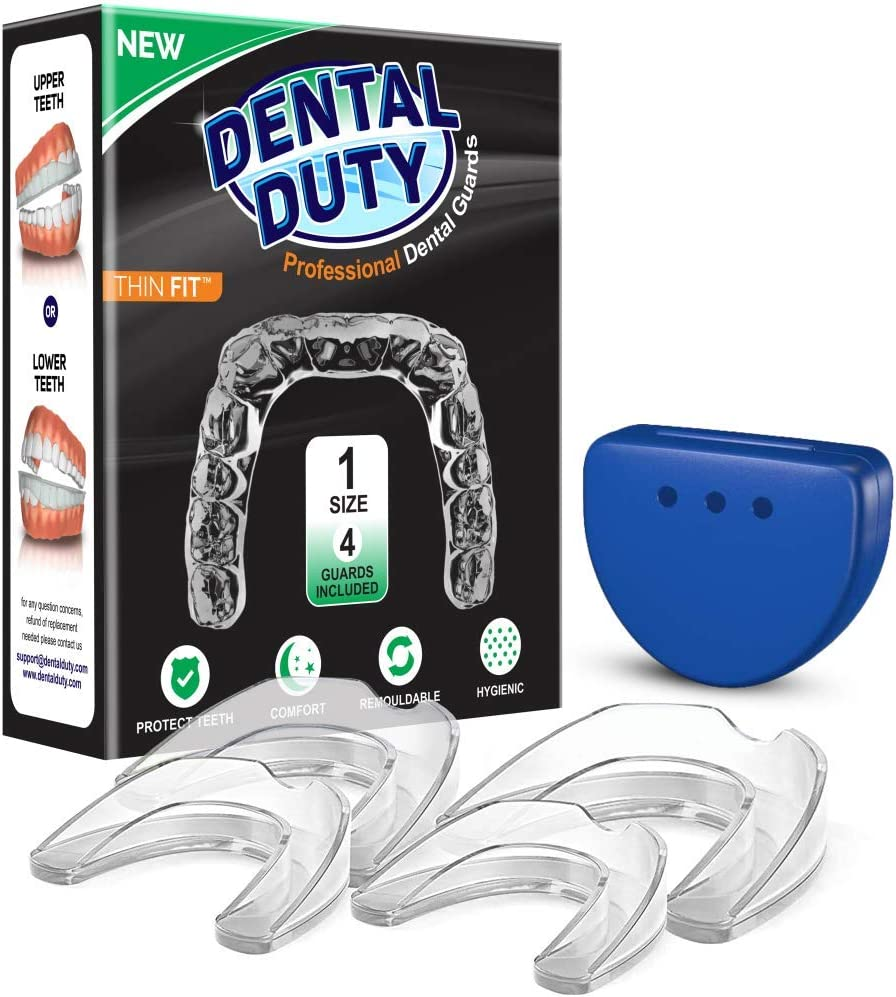 Professional Mouth Guard For Grinding Teeth, Thin Fit, 4 Pieces Mouthguard, Moldable Night Guards For Teeth Grinding, Night Guard Eliminates Bruxism & Teeth Clenching, Antibacterial Dental Guard Case